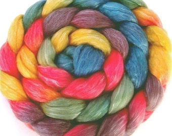 Handpainted Merino Tencel Wool Roving - 4 oz. ARCADE - Spinning Fiber