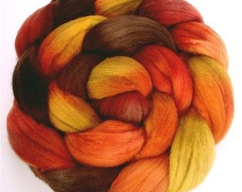 Handpainted Merino Wool Roving - 4 ozs AUTUMN FLAME