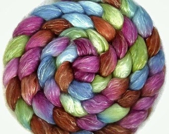 Handpainted Merino Tencel Wool Roving - 4 oz. POTTERY - Spinning Fiber