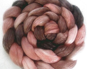 Handpainted Merino Tencel Wool Roving - 4 oz. ROSEWOOD - Spinning Fiber