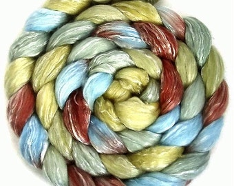 Handpainted Merino Tencel Wool Roving - 4 oz. VINTAGE - Spinning Fiber