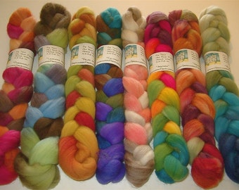 SAMPLE BOX SURPRISE Hand Painted Bfl Wool Rovings