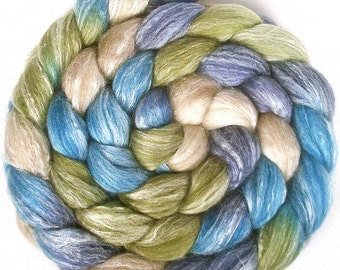 Handpainted Merino Bamboo Silk Wool Roving - 4 oz. BLUE EYES - Spinning Fiber