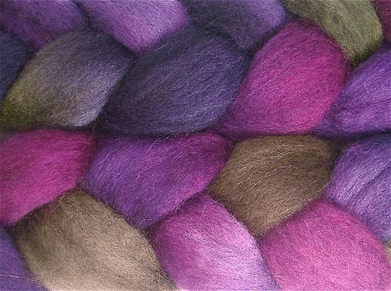 SHADOW MOUNTAIN Handpainted BFL Wool Roving 4 ounces