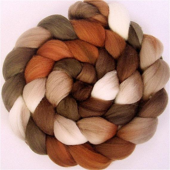 CAPPUCCINO Handpainted Merino Wool Roving 4 ounces