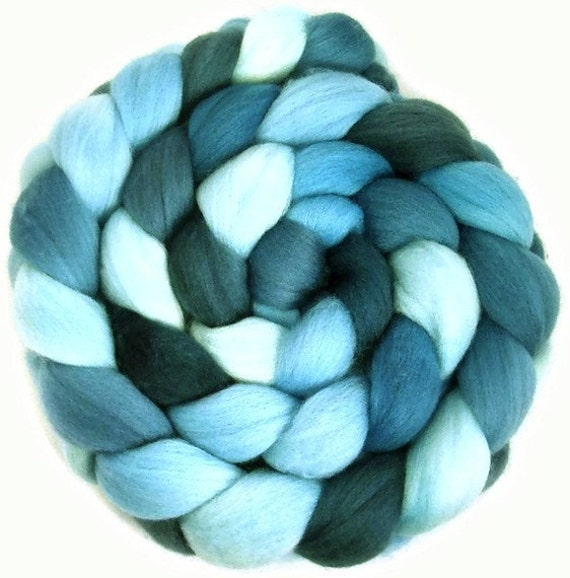 Handpainted Superfine Merino Wool Roving - 4 oz. SHADES of Turquoise - Spinning Fiber