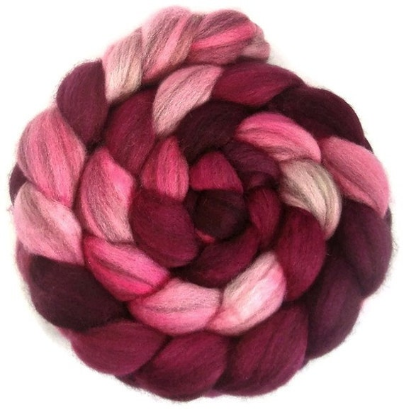 HEATHERED Handpainted BFL Roving in SHADES of Magenta 4 ounces