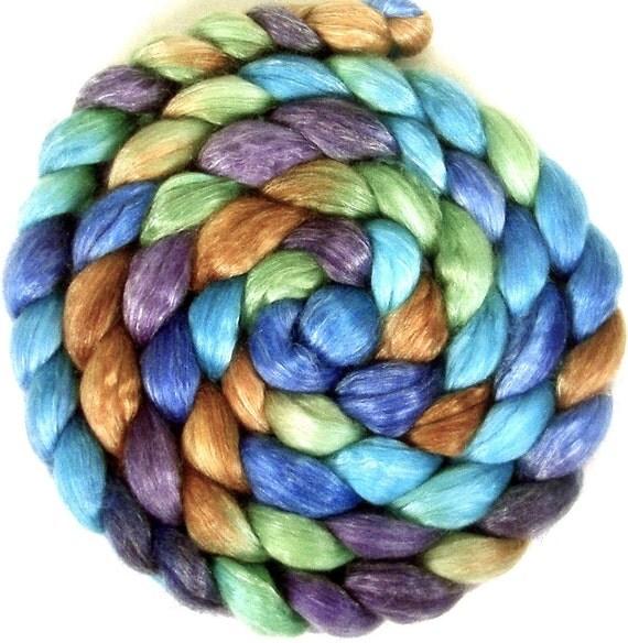 Handpainted Merino Tencel Wool Roving - 4 oz. PEACOCK - Spinning Fiber