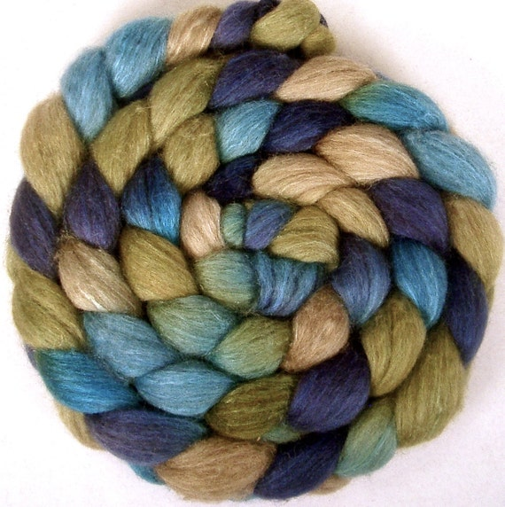 Handpainted BFL Tussah Silk Wool Roving - 4 oz. BLUE EYES - Spinning Fiber
