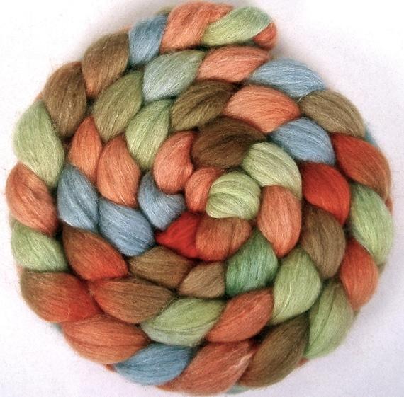 Handpainted BFL Tussah Silk Wool Roving - 4 oz. CYNDI'S SUITCASE - Spinning Fiber
