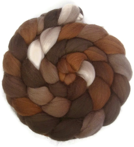 Handpainted Polwarth Wool Roving - 4 oz. CAPPUCCINO - Spinning Fiber
