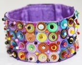 Mexican Embroidered Beaded Huichol Cuff Bracelet