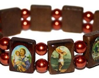 Elastic Catholic Saints Bracelet Wooden Charm Elastic Stretch Bracelet