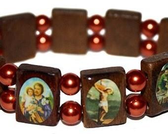 Mexican Catholic Bracelet Saints Charm Elastic Stretch Wooden Beads Bracelets