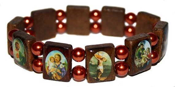 catholic saints bracelet items similar to elastic catholic saints bracelet wooden 4475