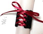 Wrist Cuff - Black with Maroon Ribbon - Medium