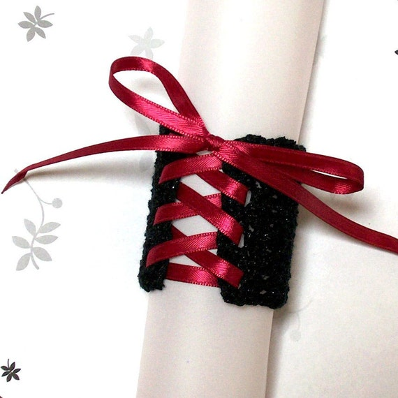 Wrist Cuff - Black with Maroon Ribbon - Medium