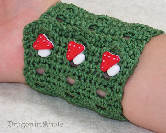 Mushroom Cuff - S/M adjustable - green cotton, red toadstool buttons - Egyptian cotton crocheted wrist cuff