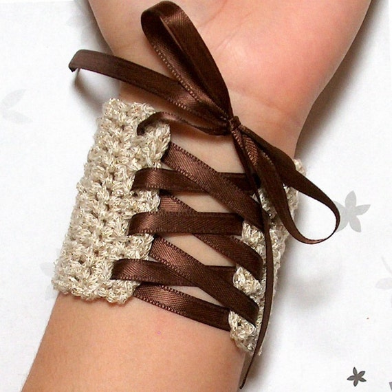 Wrist Cuff - gold cream laced with brown ribbon - steampunk fairy tale - XS S M L XL crochet wristband, corset style bracelet cuff