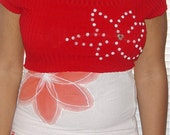 diy Red Handpainted Tube Top with Matching Crop Top