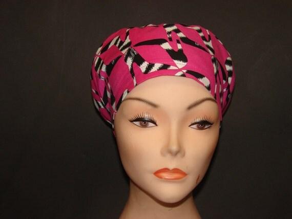 Zebra Stripes High Heel Shoes on Hot Pink Medical Surgical Scrub Hat Vet Nurse Chemo