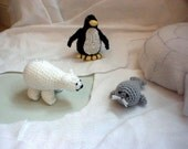 Polar Pals Penguin Polar Bear Seal Amigurumi crochet pattern pdf FREE SHIPPING