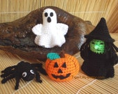 Halloween crochet pattern amigurumi pumpkin witch ghost spider pdf File.