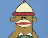 ART PRINT sock monkey and frog 81 Pop Folk Art