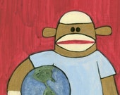 ART PRINT Sock Monkey and World 109 Pop Folk Art 8 x 10