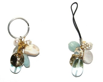 Ocean theme charm keychain or cell phone lariat