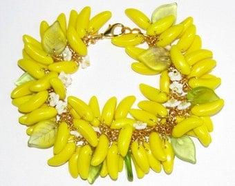 Banana Signed vintage style Julia Bristow fruit bracelet