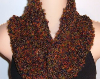 Hand Knit Wool Cotton Moebius Scarf IRISH COFFEE cowl red green orange blue black