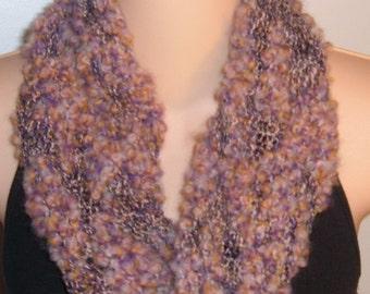 Hand Knit Wool Cotton Moebius Scarf MAUVE