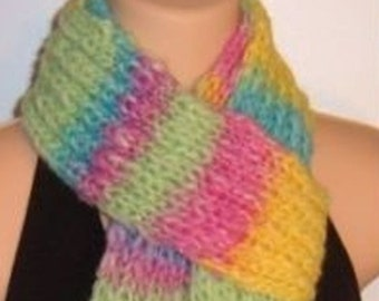SALE Hand Made Knit Wool Scarf Pastel Neon chunky