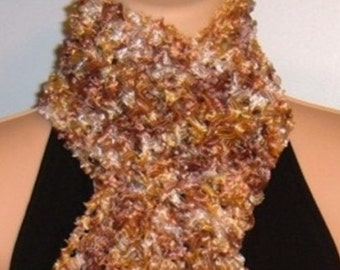 Sale Hand Knit Scarf Ribbon Brown White Yellow Fringed Polyester Lace