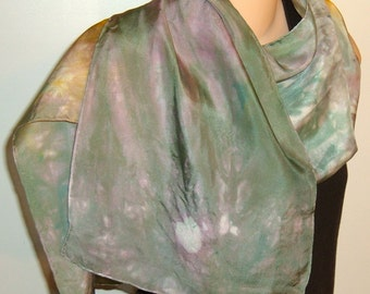 Hand painted dyed Silk Scarf Green Pink Blue Yellow
