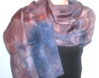 Hand painted, hand dyed Silk Scarf MIDNIGHT REFLECTIONS