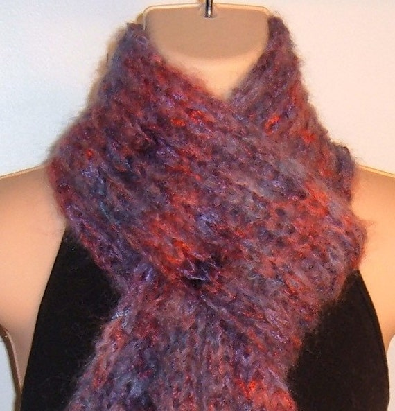 Hand Knit Scarf SUMMER BERRIES Hand Painted Mohair Silk blue purple red