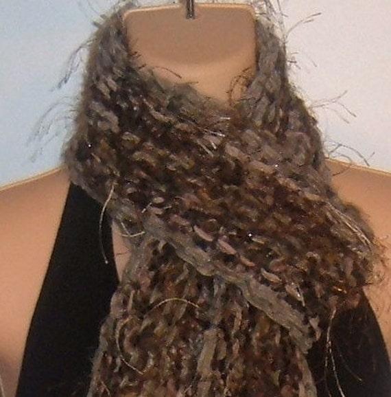 Hand Knit Gypsy Scarf BROWN designer bohemian