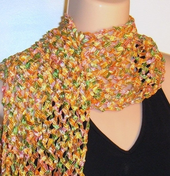 Free Knitting Pattern For Ribbon Scarf : Hand Knit Scarf in Spacedyed Ribbon SPRING FLOWERS orange