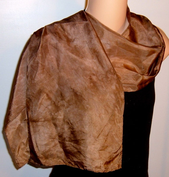 Hand painted dyed Silk Scarf Chocolate Brown