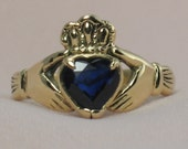 Natural Blue Sapphire, in 14k gold Claddagh Ring