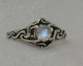 Blue Moonstone ring, Celtic swirl, Solid sterling silver