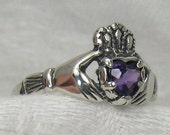 Claddagh ring, 5mm Heart Amethyst, Solid sterling silver - tranceformation