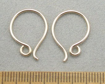 Solid 14 k gold ear wires , Handmade ear wires, one Pair, 18 gauge