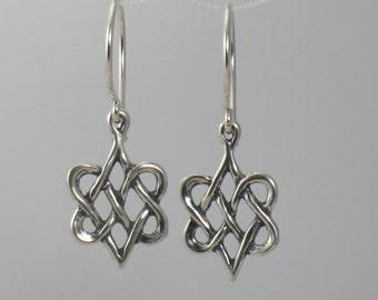 Celtic Heart earrings, Sterling Silver