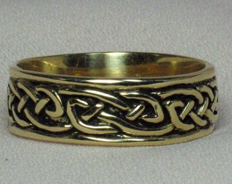 Size 5 to 15, 14k Gold, Celtic knot Band medium width, Yellow, White or Rose Gold