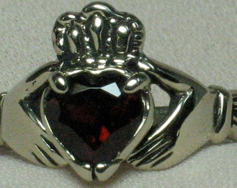 Claddagh ring , Sterling silver, Solid, Natural 6x6mm heart cut Garnet,