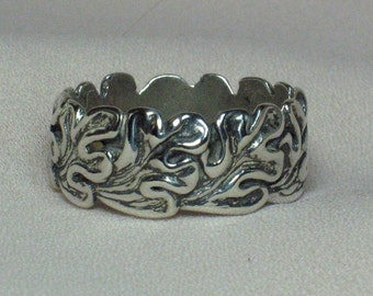 Wide Oak leaves ring, no rim Solid Sterling silver,  size 10