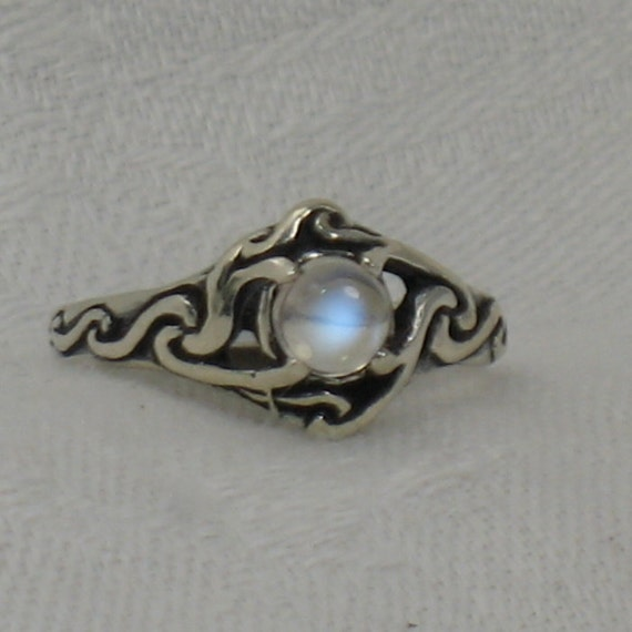 Items similar to Blue Moonstone ring, Celtic swirl, Solid ...